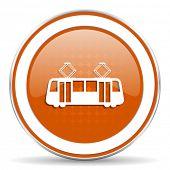 stock photo of tram  - tram orange icon public transport sign  - JPG