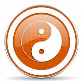 stock photo of ying yang  - ying yang orange icon 