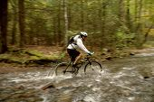 Mountain Biker Crossing Stream