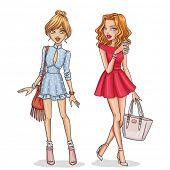 stock photo of flirty  - Beautiful and stylish fashion girls - JPG