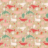 picture of whale-tail  - Lovely seamless pattern with cute whales in vintage colors - JPG