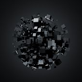 picture of fi  - 3D rendering of black cubes - JPG