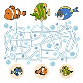 stock photo of fish  - Maze game for children - JPG