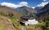 stock photo of west village  - Beautiful village and Dhaulagiri himal  - JPG
