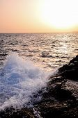 picture of volcanic  - Strong Waves Crashing on the Volcanic Coast in Tenerife Canary Islands - JPG