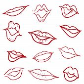 picture of hand kiss  - Red kiss lips mouth hand drawn doodle set vector illustration - JPG