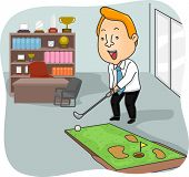 stock photo of miniature golf  - Illustration of a Man Playing with a Miniature Golf Course in His Office - JPG
