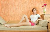 Stilish  Girl On Sofa
