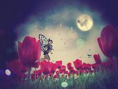 foto of night-blooming  - Dream fairy in fantasy land with bright red tulips at night time. ** Note: Visible grain at 100%, best at smaller sizes - JPG