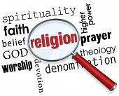 image of worship  - Finding Religion word with magnifying glass with related terms like spirituality - JPG