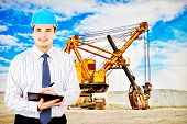 picture of jcb  - Photo of a mining engineer on industrial background - JPG