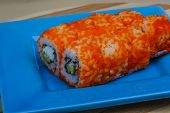 stock photo of masago  - California roll - japan cousine with crab meat