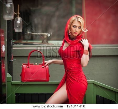 Charming young blonde with red