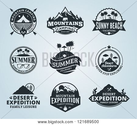 Set Of Vector Summer, Mountain And Outdoor Adventures Logo