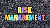 Постер, плакат: Risk Management in Multicolor Doodle Design