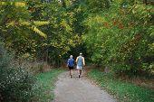 older couple strolling in park