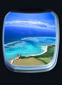 beautiful sea view from the window of plane