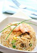 Постер, плакат: Креветки и яйцо жареный рис