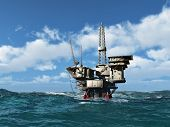 stock photo of rig  - Sea Oil Rig Drilling Platform - JPG