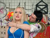picture of scumbag  - scum boy robbing sexy girl - JPG