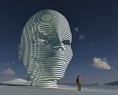 lonely man standing before big mystical head