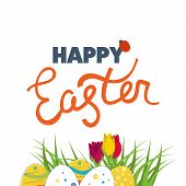 ������, ������: Happy Easter Card with Eggs Grass Flowers Poster greeting card
