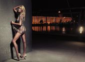 Sexy young blonde beauty posing over night city background