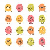 Постер, плакат: Set Of Cartoon Funny Smiley Monsters Collection Of Hand Drawn Different Cute Fluffy Monsters Charac