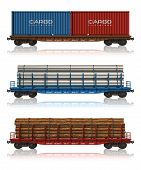 pic of boxcar  - Set of freight railroad cars isolated over white background - JPG