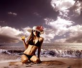 stock photo of woman bikini  - beautiful woman in bikini on the beach - JPG