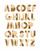 Retro font in brown and beije. Brown alphabet. Realistic letters poster