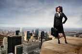 business black woman on the top of the building