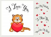 Cartoon valentines day card poster