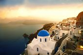 Santorini island at sunset