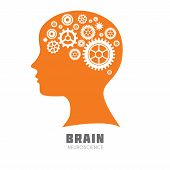 Постер, плакат: Human head with brain with symbolic brain functions icon