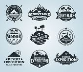 Постер, плакат: Set Of Vector Summer Mountain And Outdoor Adventures Logo