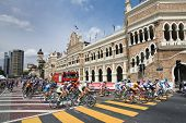KL, MALAYSIA - 15 FEB: Cyclists in front of Sultan Abdul Samad Building during the le Tour de Langka
