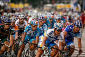 KL, MALAYSIA - 15 February: Cyclists at the front of the peloton at the le Tour de Langkawi race, St