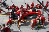 SEPANG, MALAYSIA - APRIL 4: Scuderia Ferrari Marlboro crews do pit-stop practice at the 2009 F1 Petr