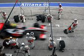 SEPANG, MALAYSIA - APRIL 5: Vodafone McLaren Mercedes pit-stop at the final race of the 2009 F1 Petr