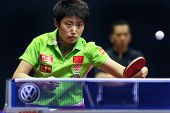 KUALA LUMPUR, MALAYSIA - SEPTEMBER 24: Guo Yue, China (ITTF World Rank 7) returns the ball in her ma