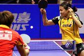KUALA LUMPUR, MALAYSIA - SEPTEMBER 24: Sayaka Hirano, Japan (ITTF World Rank 14) hits a topspin return at the Volkswagen 2010 Women's World Cup in table tennis on September 24, 2010 in Kuala Lumpur.