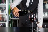 Mid section of bartender pouring red wine in a glass at bar counter poster