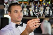 Barkeeper checking a wine glass after cleaning poster