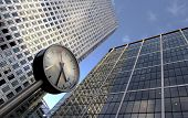 clock and office buildings