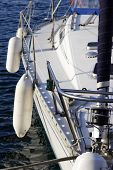 image of safe haven  - close up detail of sailing yacht in port - JPG