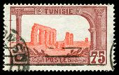 vintage stamp from Tunisia depicting Roman ruins of Carthage from the phoenician empire