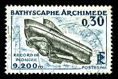 vintage french stamp depicting the Bathyscaphe Archimede am ocean research submersible that explored the mid Atlantic ridge and reached a depth of 9200 metres