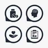 Постер, плакат: Medicine icons Tablets bottle brain Rx