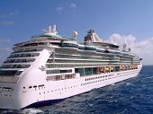 stock photo of cruise ship  - big cruise ship sailing on water perfect for a vacation - JPG